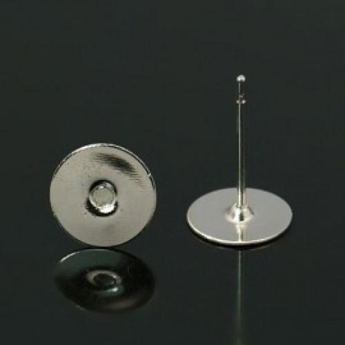 10 stuks oorstekers, nikkelkleur maat 12mm lang 0,6 dik en kop  Ø 8mm (geen stopper bijgeleverd!)