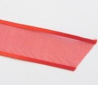 1 meter Luxe lint Rood transparant met satijn-randjes 25 mm
