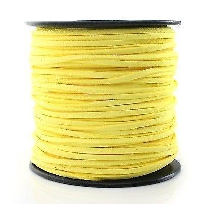 Faux suède veter,  geel, 1 meter x 3mm.