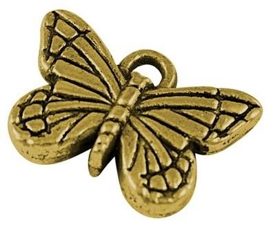4 x Prachtige goudkleurige Tibetaans zilveren bedel van een vlinder 11 x 15,5 x 4mm gat 1,5mm