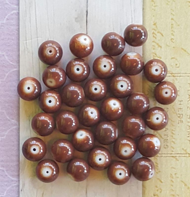 10 stuks Keramische glaskralen  12mm bruin
