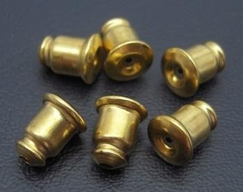 20 stuks oorbel stoppers geel koper kleur 5 x 6mm of te gebruiken als dopjes voor spelden!