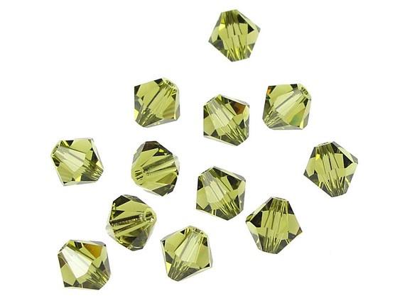 10 x Preciosa Kristal Bicone ca.4mm gat: 1mm Olive