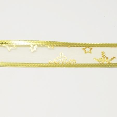 1 meter luxe organza lint met goud glitter 25mm ster blad met metaaldraad