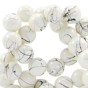 15  stuks  6 mm glaskralen drip-art Silk beige