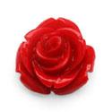 4 x Resin plakroosje cabochon 15mm rood
