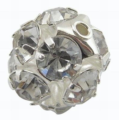 Verzilverde kristal ballen 10mm kristal gat: 1,7mm