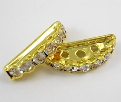 25 stuks vergulde kristal spacers 20 mm, 3 gaten