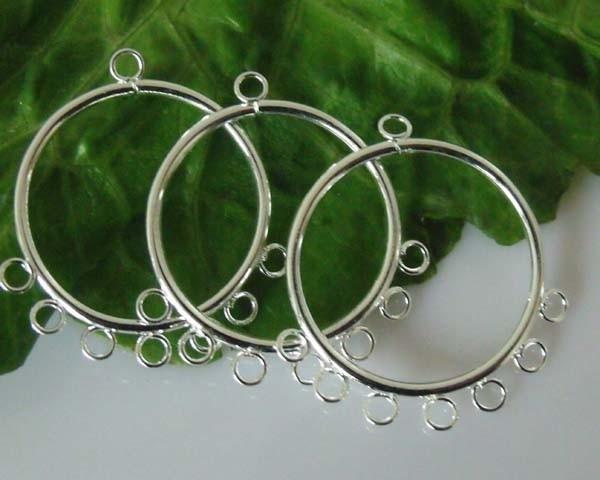 2 prachtige verzilverde oorbellen ornamenten 30 x 25 x 2mm oogjes: 2mm