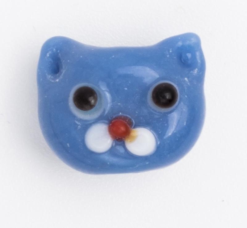 5 x blauwe glaskraal poes 11 x 12 x 9 mm; Gat 3 mm Handgemaakt