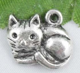 Tibetaans zilveren poes  14,5 x 13 mm