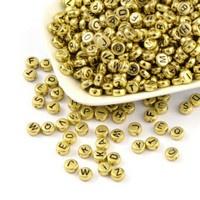 Letterkraal per stuk acryl kralen metallook 7mm goudkleur Gat 1mm