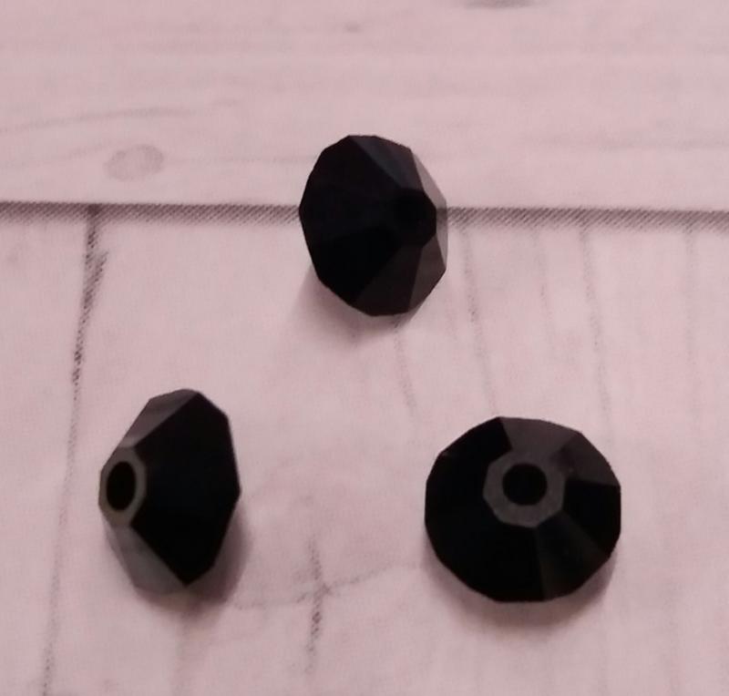 25x preciosa kristal bicone zwart AB 5 mm Gat: 1 mm
