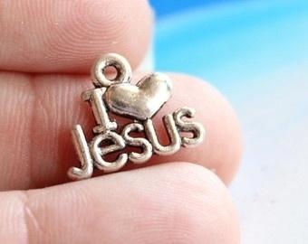 10 stuks tibetaans zilveren bedel I love Jesus 15 x 12 x 1mm Gat: 1mm