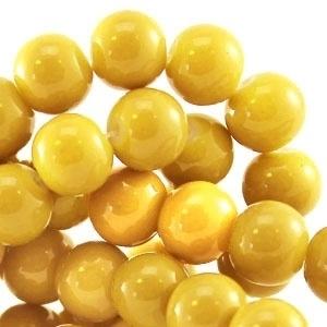 15 stuks Keramische Glaskralen 8mm  Warm geel