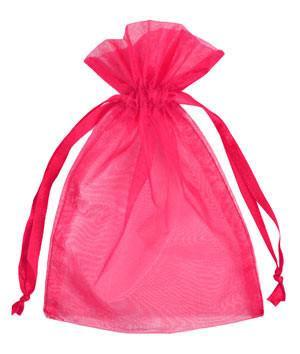 c.a. 100 stuks organza zakjes 7x9 cm Hot Pink