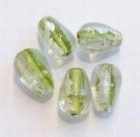 5x Glaskraal India druppelvorm Lime-zilverfoille 17 mm