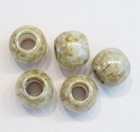 10 stuks Glaskraal rond groot gat beige/groenig marmer 10 mm groot gat