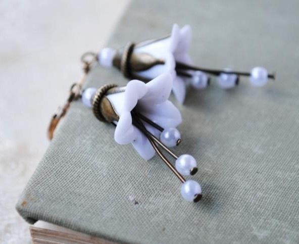 10  x Prachtige acryl bloem kelk 17 x 17 x 12mm, Gat: 1,5mm wit