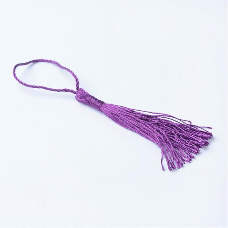 Satijn kwast lengte kwast 9 cm incl. lus 130 x 6mm purple