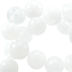 10 x kunststof kraal rond gemeleerd wit 8mm