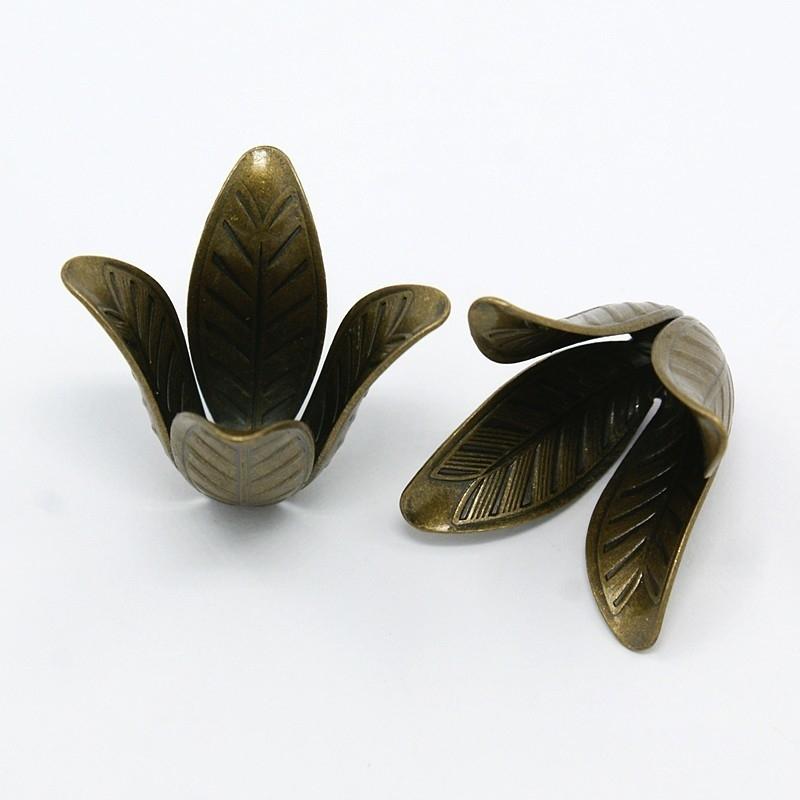 2 x Tibetaans zilveren grote kralen of koordcap 22 x 17 mm Gat: 2,5mm