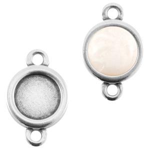 1 x DQ metaal setting 2 ogen voor 7mm cabochon en SS34 flatback Antiek zilver (nikkelvrij)
