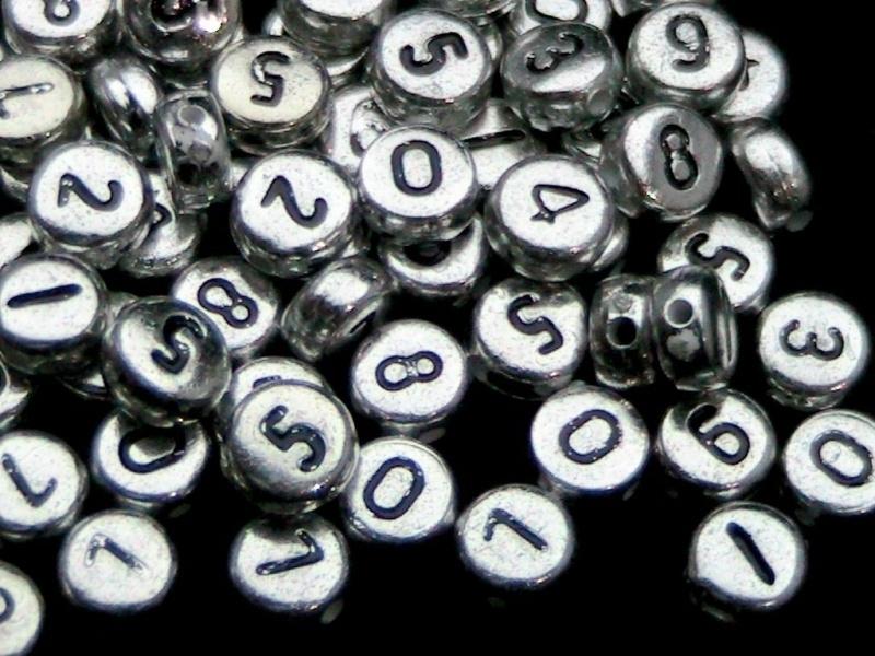 1 keer cijfer kraal 7mm acryl zilver Gat 1mm
