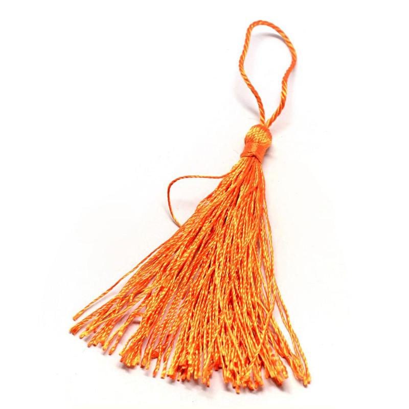 Satijn kwast lengte kwast 9 cm incl. lus 130 x 6mm dark orange
