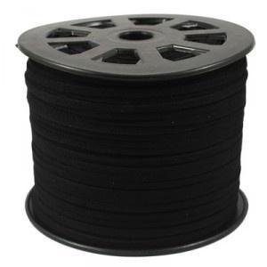 Faux suède veter,  zwart 1 meter x 3mm