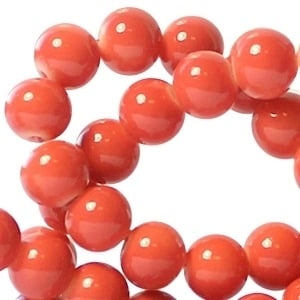 15 stuks Keramische Glaskralen 8mm  Pale red