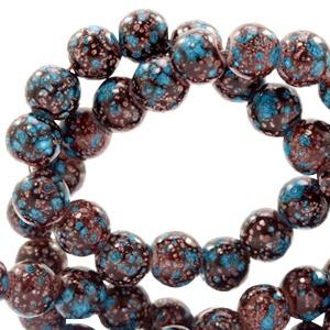 15 stuks Glaskraal gemêleerd 8 mm stone look Dark brown-turquoise