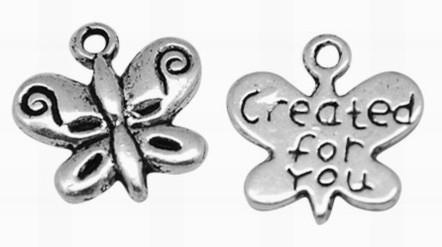 10x Tibetaans zilveren bedeltje van een vlinder created for you 14 x 13 x 3mm  Gat: 2mm