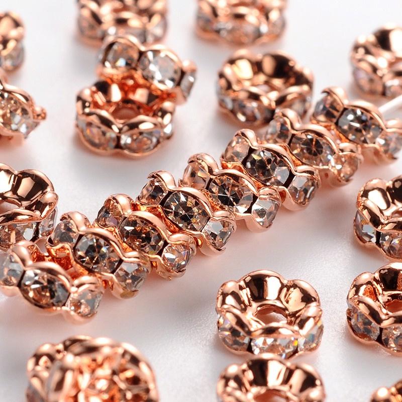 50 stuks rose gold vergulde Kristal Rondellen 6mm