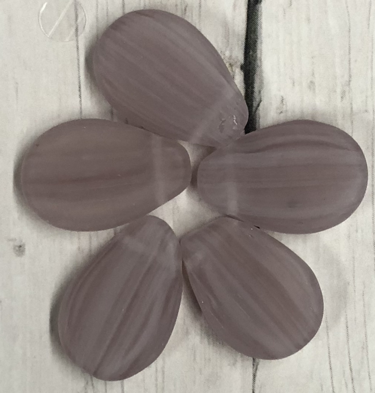 10 stuks platte druppel glaskralen mat paars 18mm gat 1mm