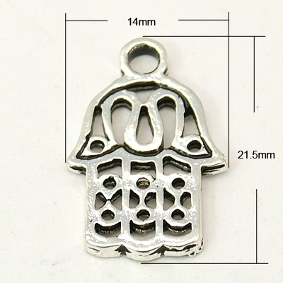 Tibetaans zilveren bedeltje van een Hamsa Hand 14 x 21,4 x 1,5mm Gat: 2,5mm