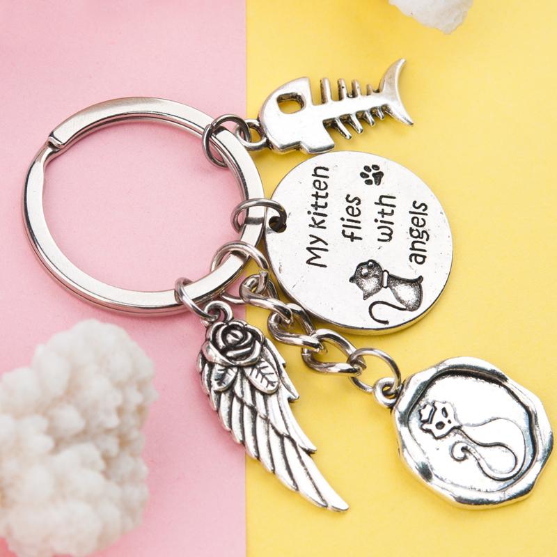 Prachtige herdenkings sleutelhanger kat My kitten flies with angels