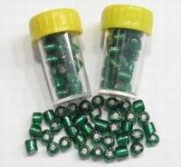 4 x Mini-buisje rocailles Groen Zilverkern 4,5mm 4,5 mm