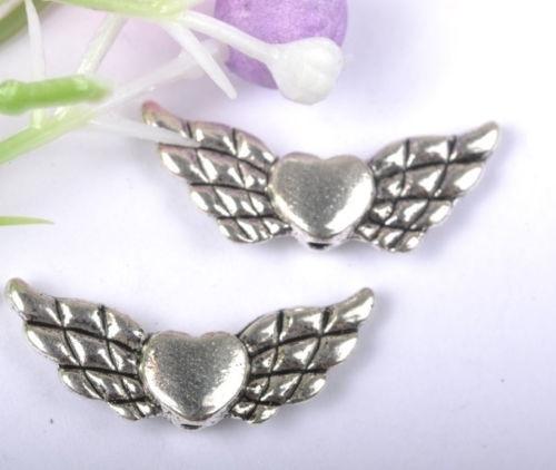 10 x Tibetaans zilveren Engelen kraal 9 x 22 x 3mm gat: 1mm
