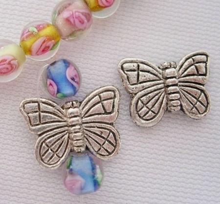 10 x prachtige Tibetaans zilveren kraal van een vlinder 11 x 15,5 x 3mm gat 1,5mm