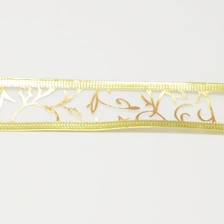 1 meter organza lint met goud glitter 25mm op witte ondergrond met metaaldraad