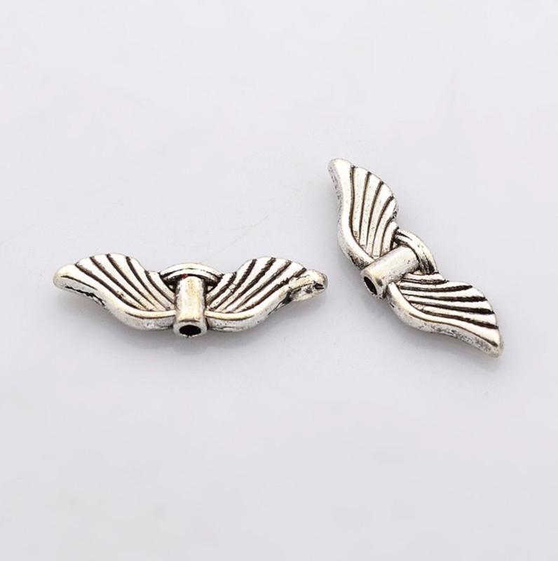 10 stuks Tibetaans zilveren vleugeltjes 21mm x 6,5mm x 2.5mm gat: 1.5mm