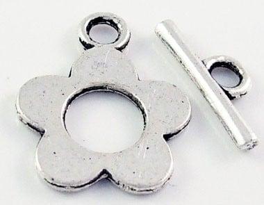 4 x Tibetaans zilveren sluiting 16 x 20mm, T-stukje: 16mm, gat: 2.5mm
