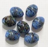 10 Stuks glaskraal India ovaal blauw met werkje 12 mm