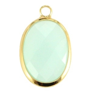 Crystal glas hanger ovaal 13x18mm Crysolite green opal-Gold