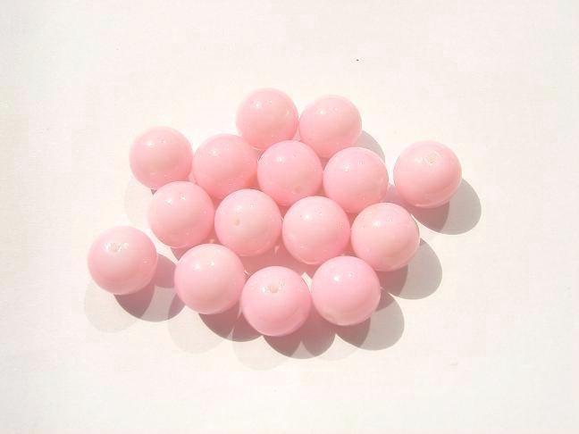 15 stuks ronde roze glaskralen 12 mm Gat: 1mm