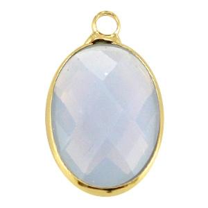 Crystal glas hanger ovaal 13x18mm Light grey opal-Gold