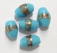 Per stuk Glaskraal India ovaal aqua met goudrand 14 mm