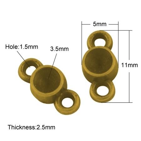 10 stuks tussenzetsels 12,5 x 5 x 2,5mm gat: c.a. 1,5 geschikt voor een 3,5mm punt steentje goudkleur