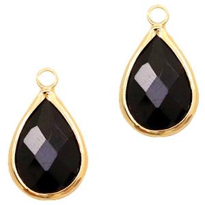 Per stuk Hangers van crystal glas druppel 10x14mm Jet black-gold